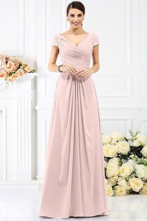 Long Empire Waist Pleated A-Line Short Sleeves Bridesmaid Dress - 21
