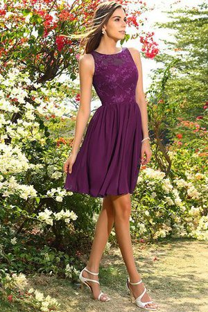 A-Line Natural Waist Sleeveless Chiffon Short Bridesmaid Dress - 5