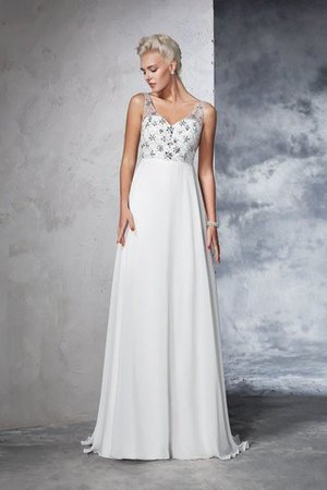 Sleeveless Empire Waist Sweep Train A-Line Long Wedding Dress - 1