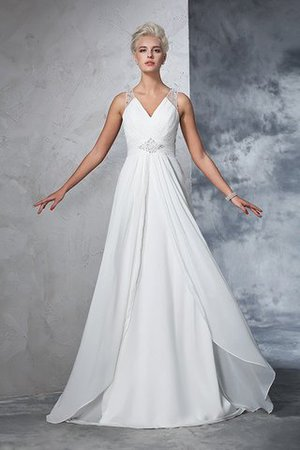 Chiffon Empire Waist Long Sweep Train A-Line Wedding Dress - 4