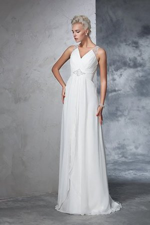 Chiffon Empire Waist Long Sweep Train A-Line Wedding Dress - 6