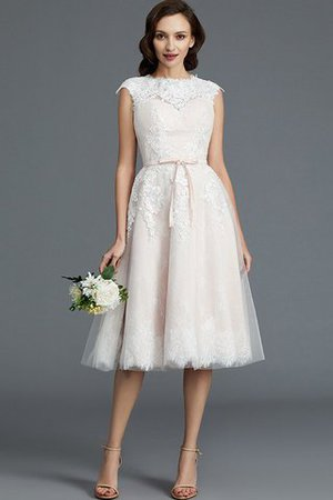 Bateau Natural Waist Sleeveless Knee Length A-Line Wedding Dress - 1