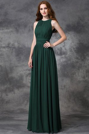 Sleeveless Ruched Natural Waist Chiffon Long Bridesmaid Dress - 11