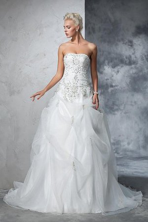 Lace-up Tulle Long Chapel Train Strapless Wedding Dress - 3
