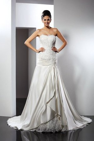 Empire Waist Long Chapel Train Appliques Mermaid Wedding Dress - 1