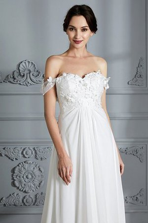 Sleeveless Chiffon Natural Waist Off The Shoulder Floor Length Wedding Dress - 3