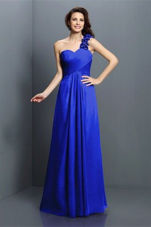 Zipper Up One Shoulder Chiffon A-Line Bridesmaid Dress - 25