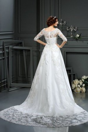 Long Court Train Natural Waist Princess Half Sleeves Wedding Dress - 2
