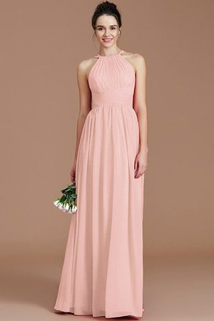 Ruched Floor Length Chiffon Natural Waist Halter Bridesmaid Dress - 25