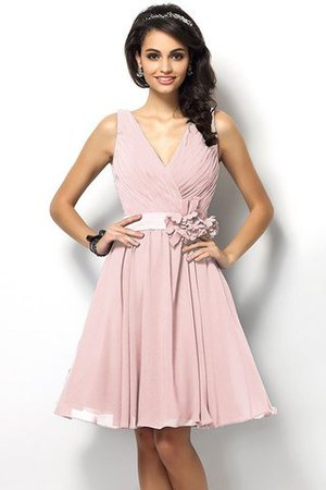 Draped A-Line V-Neck Natural Waist Bridesmaid Dress - 21