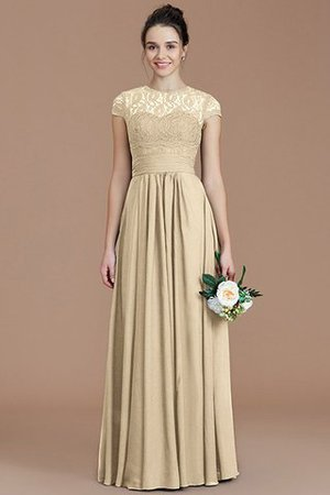 Chiffon Floor Length A-Line Jewel Short Sleeves Bridesmaid Dress - 12
