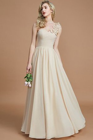 Sleeveless Natural Waist One Shoulder A-Line Chiffon Bridesmaid Dress - 4