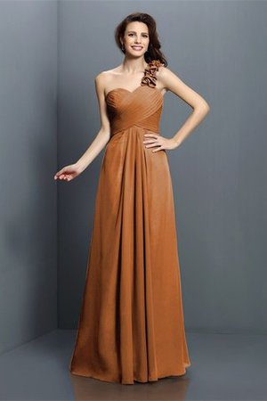 Zipper Up One Shoulder Chiffon A-Line Bridesmaid Dress - 4