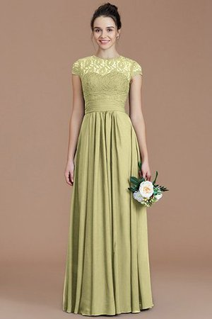 Chiffon Floor Length A-Line Jewel Short Sleeves Bridesmaid Dress - 14