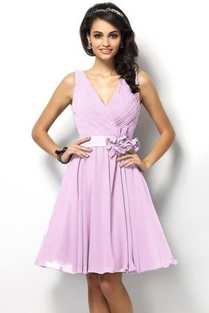 Draped A-Line V-Neck Natural Waist Bridesmaid Dress - 22