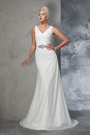 Sleeveless Mermaid V-Neck Lace Natural Waist Wedding Dress - 3