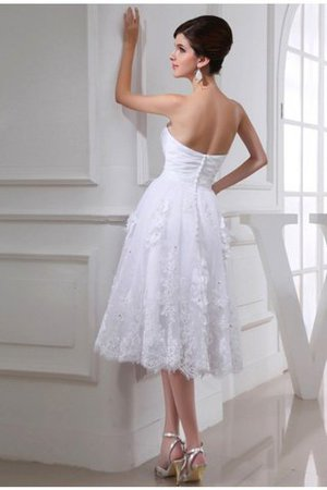 Beading Sweetheart Taffeta Knee Length Organza Wedding Dress - 2