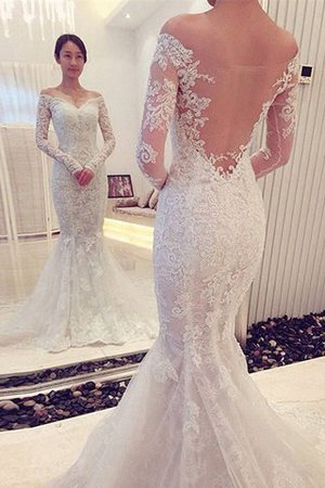 Sweep Train Long Sleeves Off The Shoulder Natural Waist Mermaid Wedding Dress - 1