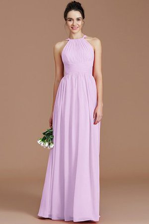 Ruched Floor Length Chiffon Natural Waist Halter Bridesmaid Dress - 23