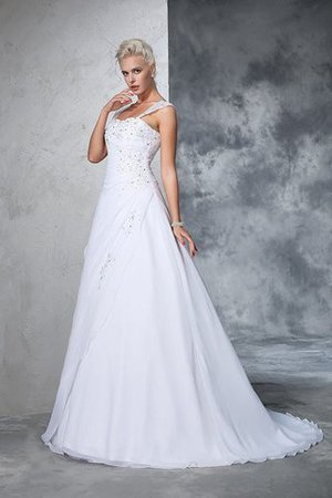 Empire Waist Appliques Chiffon Wide Straps Lace-up Wedding Dress - 5