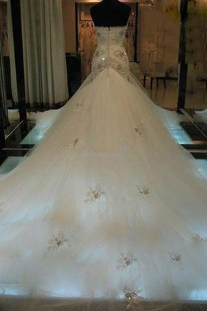 Beading Court Train Natural Waist Tulle Sweetheart Wedding Dress - 2