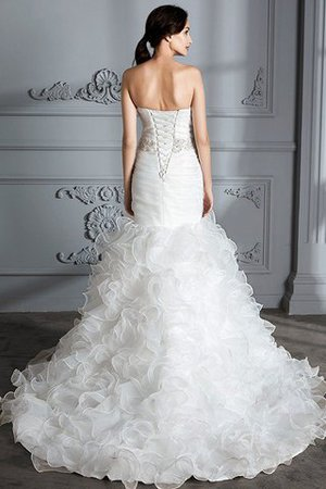 Sweetheart Ruffles Mermaid Sleeveless Sweep Train Wedding Dress - 4