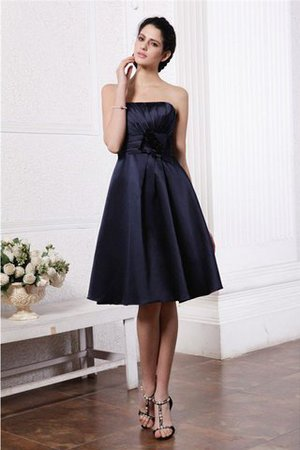 Zipper Up Princess Short Flowers Pleated Bridesmaid Dress - 1