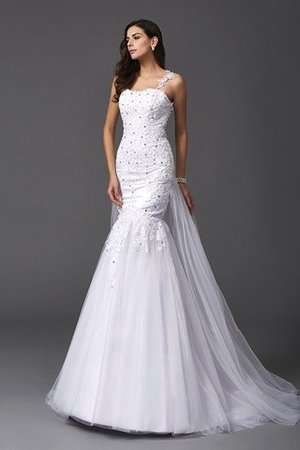 Wide Straps Long Sweep Train Natural Waist Wedding Dress - 3