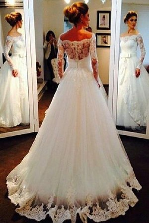 Long Sleeves Natural Waist Tulle Off The Shoulder Sweep Train Wedding Dress - 2
