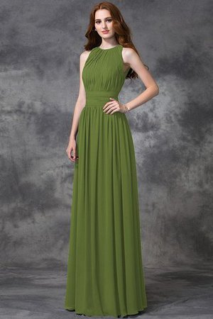 Sleeveless Ruched Natural Waist Chiffon Long Bridesmaid Dress - 14