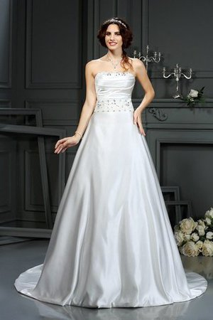 Strapless Court Train Long Beading Zipper Up Wedding Dress - 1