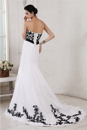 Embroidery Sleeveless Long Court Train Wedding Dress - 2