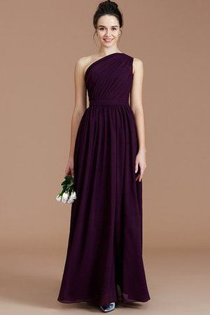 Floor Length Natural Waist Chiffon Ruched One Shoulder Bridesmaid Dress - 4