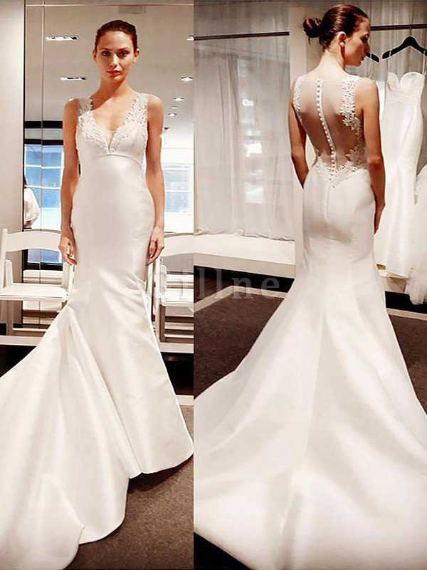 Court Train Satin Sleeveless Mermaid V-Neck Wedding Dress