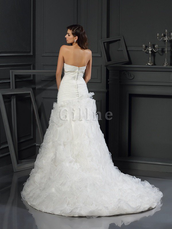 Organza Princess Zipper Up Chapel Train Long Wedding Dress