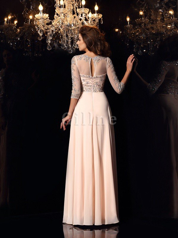3/4 Length Sleeves A-Line Zipper Up Floor Length Beading Evening Dress