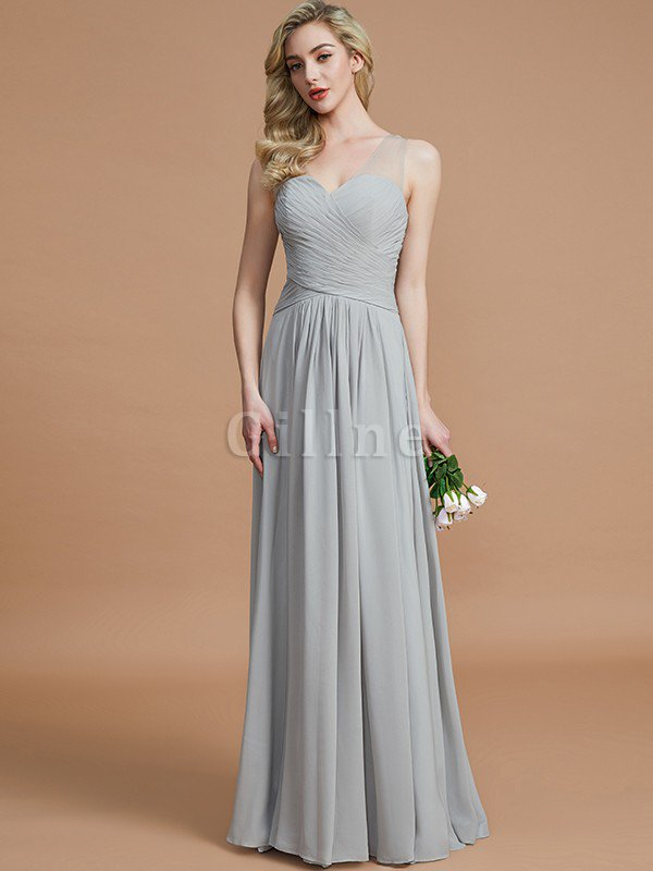 Natural Waist Floor Length A-Line V-Neck Bridesmaid Dress