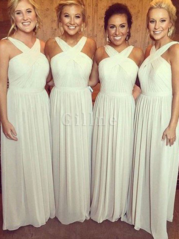 Chiffon Floor Length A-Line Natural Waist Bridesmaid Dress