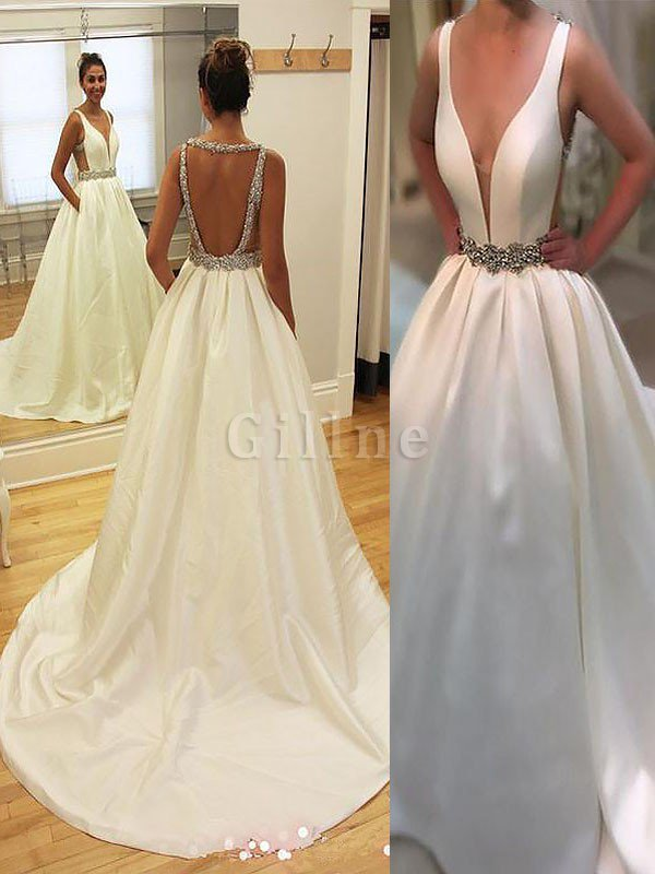 Court Train Natural Waist A-Line Sleeveless Wedding Dress