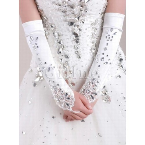 Luxurious Satin With Crystal White Bridal Gloves