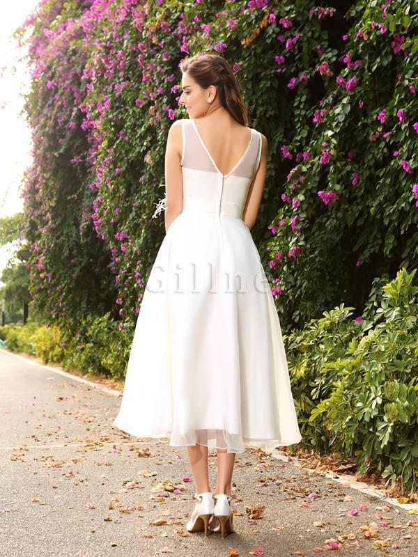 Zipper Up Ankle Length A-Line Sashes Long Wedding Dress