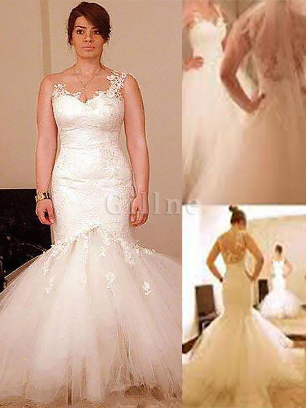 Natural Waist Wide Straps Mermaid Sleeveless Wedding Dress