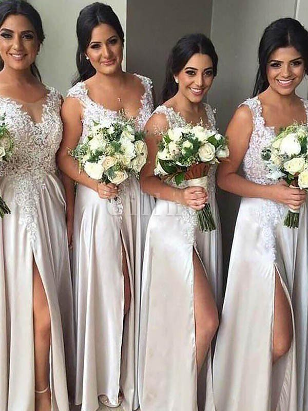 Natural Waist Floor Length V-Neck Satin Sheath Bridesmaid Dress