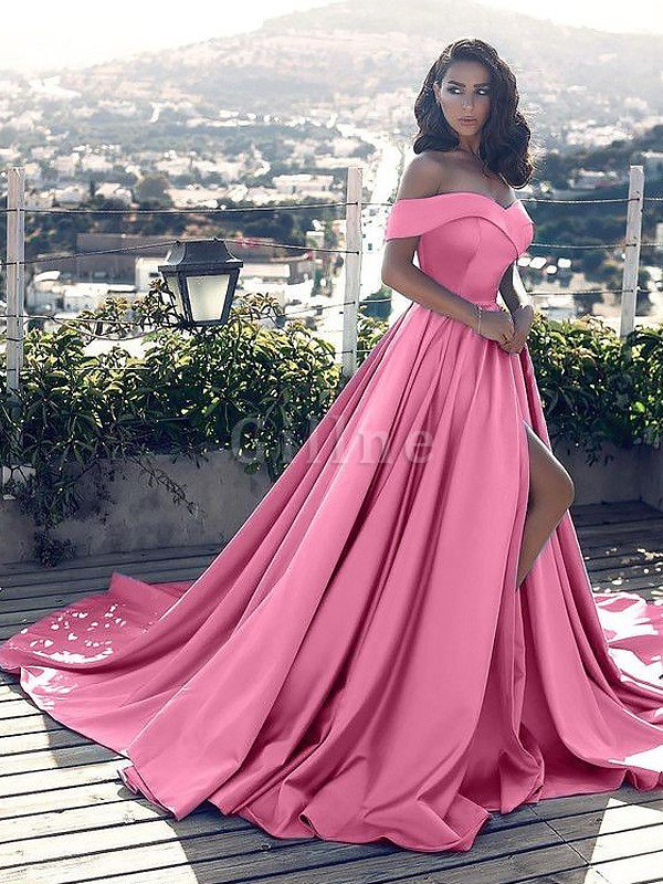 Ruffles A-Line Off The Shoulder Satin Court Train Evening Dress