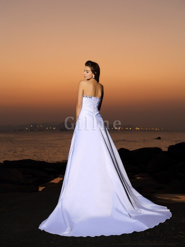 Chapel Train Strapless Empire Waist Beach Satin Wedding Dress