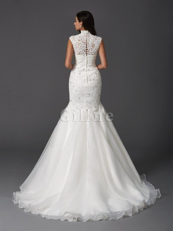 Sleeveless Organza Natural Waist High Neck Mermaid Wedding Dress