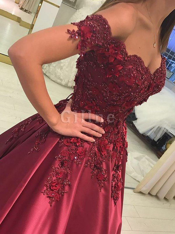 Satin Off The Shoulder Floor Length Natural Waist Sleeveless Prom Dress