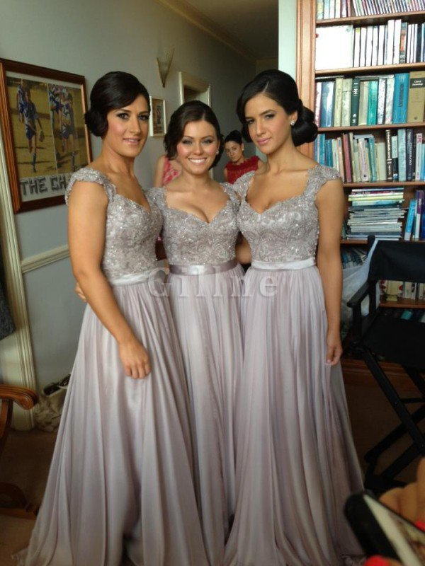 Hourglass Sequins Short Sleeves Misses V-Neck Bridesmaid Dress