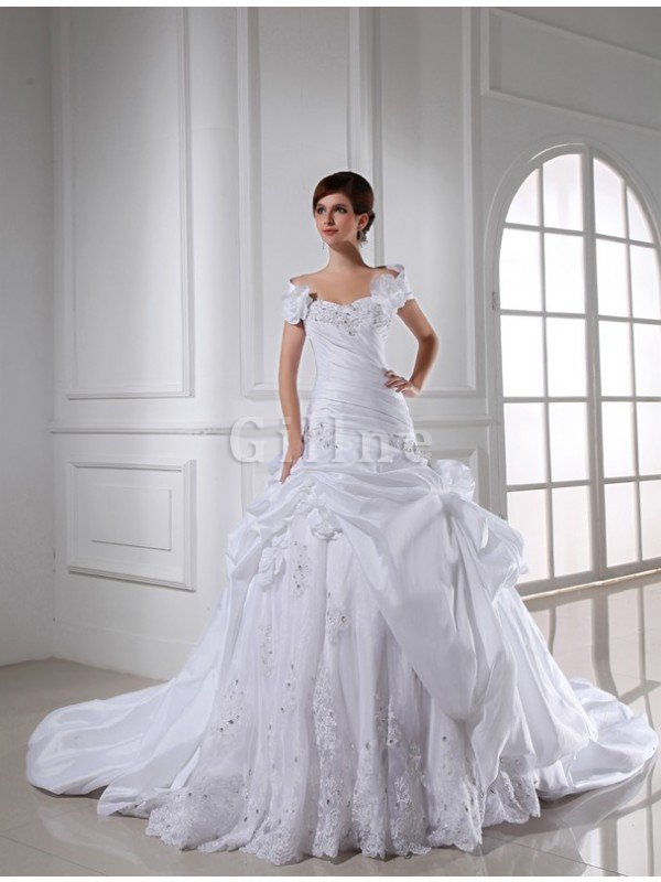 Long Ball Gown Empire Waist Chapel Train Beading Wedding Dress