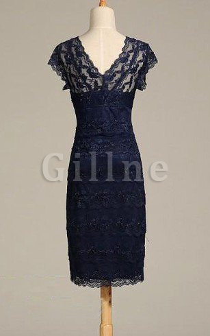 V-Neck Short Sleeves Lace Simple Sheath Prom Dress